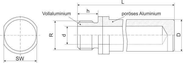 Konstruktion von Schalldämpfer mit Gewinde